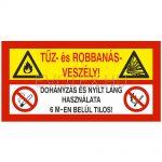 Tűz- és robbanásveszély! Dohányzás és nyílt láng használata 6 m-en belül tilos!